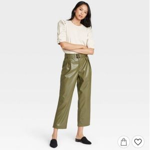 Who What Wear Faux Leather High-Rise Belted Pants